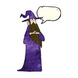 Cartoon old wizard with speech bubble Royalty Free Stock Images