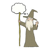 cartoon old wizard with thought bubble Royalty Free Stock Images
