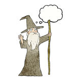 cartoon old wizard with thought bubble Royalty Free Stock Photo