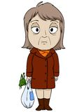 Cartoon old woman in brown coat. Sad mood. Vector illustration Stock Photo