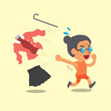 Cartoon old woman changing clothes to sportswear. For design Stock Photography