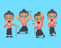 Cartoon old woman character poses. For design Stock Image
