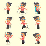 Cartoon old woman character poses on yellow background. For design Stock Photos