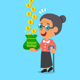 Cartoon old woman earning money. For design Stock Photo