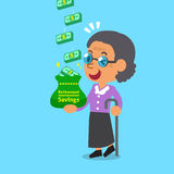 Cartoon old woman earning money stack. For design Royalty Free Stock Image