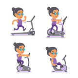 Cartoon old woman with exercise machines. For design Stock Image