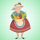 Cartoon old woman farmer character with harvest. Farm fresh concept. Vector illustration in retro style Stock Photos
