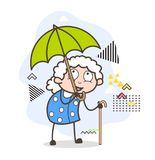 Cartoon Old Woman Having Fun in Rain Vector Illustration. Cartoon Old Woman Having Fun in Rain Vector design Stock Photography