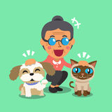 Cartoon old woman and her pets. For design Royalty Free Stock Images