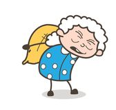 Cartoon Old Woman Labor Carrying a Pack of Sack Vector Illustration. Cartoon Old Woman Labor Carrying a Pack of Sack Vector design Royalty Free Stock Photography