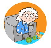 Cartoon Old Woman Makeing Woolen Dress Vector Illustration. Cartoon Old Woman Makeing Woolen Dress Vector design Stock Photo