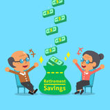 Cartoon old woman and old man receiving retirement savings. For design Stock Image