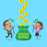 Cartoon an old woman and an old man receiving retirement savings. For design Royalty Free Stock Image