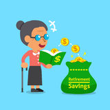 Cartoon old woman open a book that has money coins. For design Royalty Free Stock Images