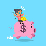 Cartoon old woman and pink piggy Stock Image
