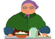Cartoon old woman in purple hat Royalty Free Stock Images
