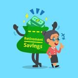 Cartoon old woman with retirement savings bag and coins. For design Stock Photos