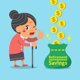 Cartoon old woman with retirement savings bag Royalty Free Stock Image