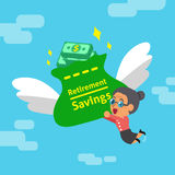 Cartoon old woman with retirement savings bag. For design Stock Image