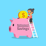Cartoon old woman and retirement savings pink piggy bank. For design Stock Photos
