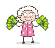Cartoon Old Woman Showing Money Vector Illustration stock illustration