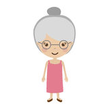 Cartoon old woman. Smiling with beautiful clothes over white background. vector illustration Royalty Free Stock Photo