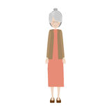 Cartoon old woman. Smiling with beautiful clothes over white background. vector illustration Stock Photography