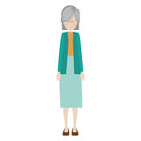 Cartoon old woman. Smiling with beautiful clothes over white background. vector illustration Stock Images