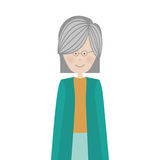 Cartoon old woman. Smiling with beautiful clothes over white background. vector illustration Stock Photo