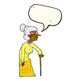 Cartoon old woman with speech bubble Stock Photo
