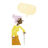 Cartoon old woman with speech bubble Stock Photos