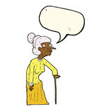 Cartoon old woman with speech bubble Stock Images