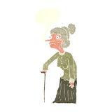 Cartoon old woman with speech bubble Stock Image