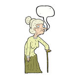 Cartoon old woman with speech bubble Royalty Free Stock Photography