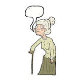 Cartoon old woman with speech bubble Royalty Free Stock Image