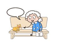 Cartoon Old Woman Talking with Pet Cat Vector Concept. Cartoon Old Woman Talking with Pet Cat Vector design Royalty Free Stock Photo