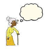 Cartoon old woman with thought bubble Royalty Free Stock Photos