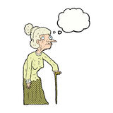 Cartoon old woman with thought bubble Royalty Free Stock Photography