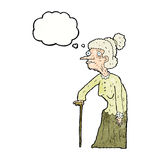 Cartoon old woman with thought bubble Royalty Free Stock Photo