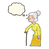 Cartoon old woman with thought bubble Stock Images