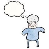 Cartoon old woman with thought bubble Stock Image