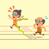 Cartoon old woman winning a race before old man Stock Photo