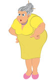 Cartoon old woman in yellow dress Royalty Free Stock Images