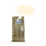 Cartoon old wood door with speech bubble Stock Photos