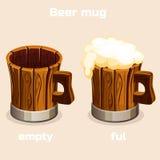 Cartoon old wooden beer tankard in vector. Cartoon old wooden beer mug. Full and empty tankard with beer foam in vector Stock Photo