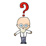 Cartoon older man with question Royalty Free Stock Photography