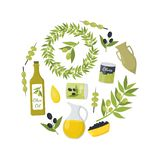 Cartoon Olive Oil Elements Round Design Template Ad. Vector. Cartoon Olive Oil Elements Round Design Template Ad Organic Food Concept Flat Design Style Include royalty free illustration