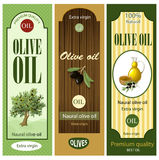Cartoon Olive Oil Labels Set Stock Photos
