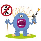 Blue monster with a blaster. Cartoon one-eyed blue monster with a blaster Royalty Free Stock Image