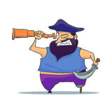 Cartoon one-legged Pirate with Spyglass. Vector Stock Images